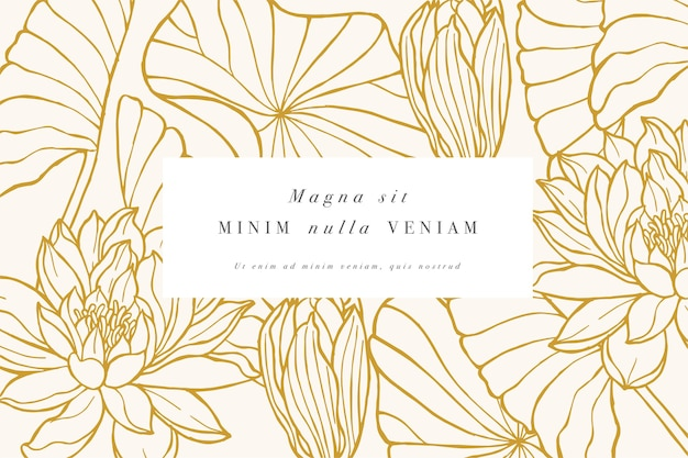 Cartão vintage com flores de lótus guirlanda floral
