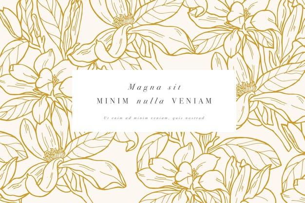Cartão vintage com flores de magnólia.