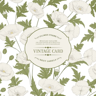 Cartão vintage com flores desabrochando