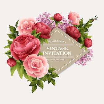 Cartão vintage com flores desabrochando.