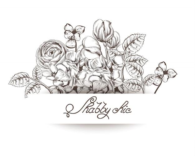 Cartão vintage com flores lineart