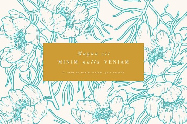 Cartão vintage com flores peônia de folhas estreitas