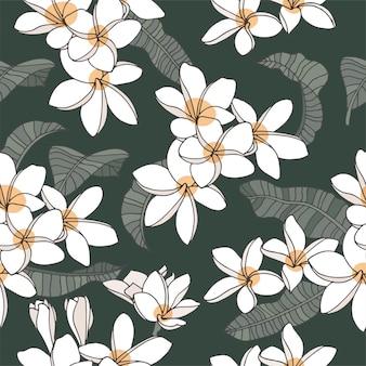 Cartão vintage com flores plumeria sem costura