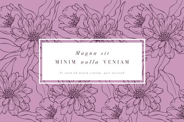 Cartão vintage com flores rosas. guirlanda floral quadro de flor para loja de flores com desenhos de etiquetas. cartão floral margarida dourada. fundo de flores para embalagens de cosméticos.