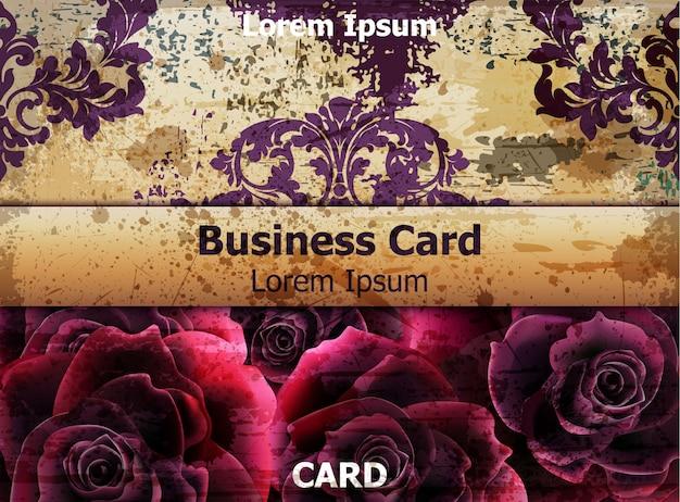 Cartão vintage com flores rosas