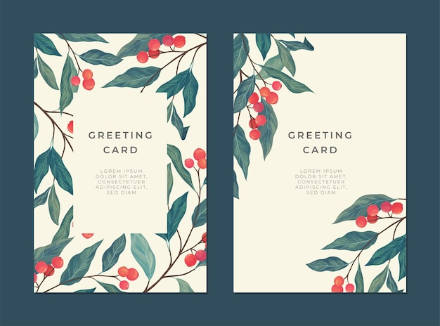Cartão vintage com frutas vermelhas, folhas verdes e um lugar para texto para capa.