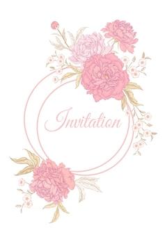Cartão vintage com moldura de peônias de flores