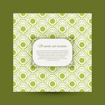 Cartão vintage com padrão verde