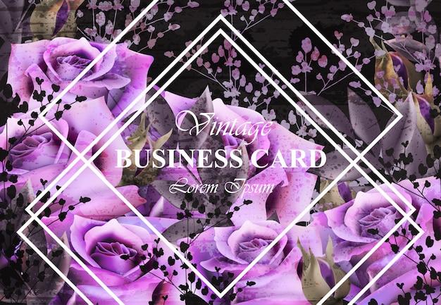 Cartão vintage com rosas roxas