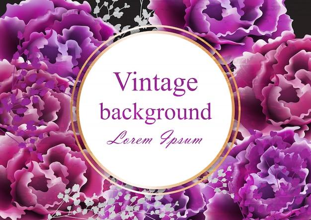 Cartão vintage com rosas selvagens roxas