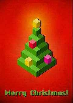Cartão vintage de árvore de natal feito de pixels 3d