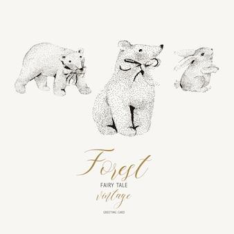 Cartão vintage de inverno preto e branco com ursos polares bonitos, lebre