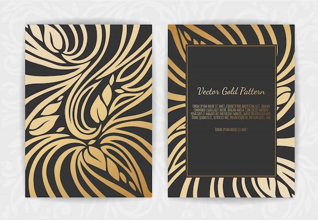 Cartão vintage de ouro em preto