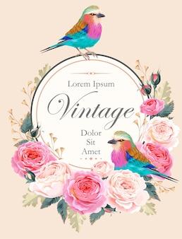 Cartão vintage de vetor com flores e pássaros