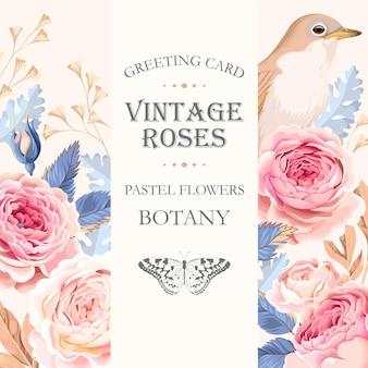 Cartão vintage de vetor com rosas e um pássaro