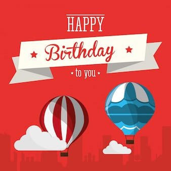 Cartão vintage feliz aniversário airballoons nuvens com fundo da cidade