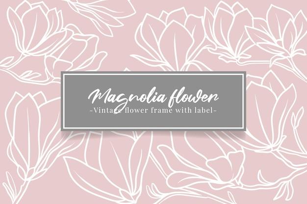 Cartão vintage flor de magnólia desenhada à mão