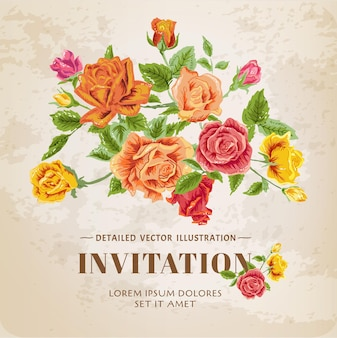 Cartão vintage floral rosas