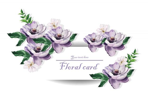 Cartão vintage flores roxas bonitas. padrões de padrões florais
