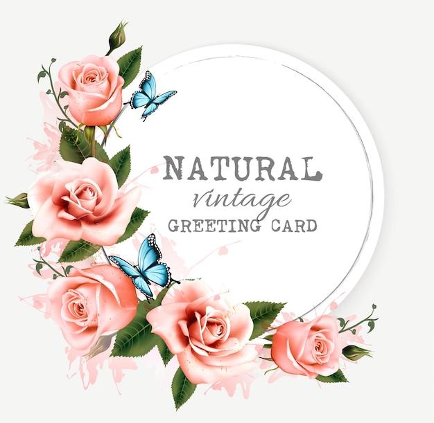 Cartão vintage natural com rosas. vetor.