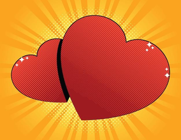 Cartão vintage para o dia dos namorados. dois corações vermelhos