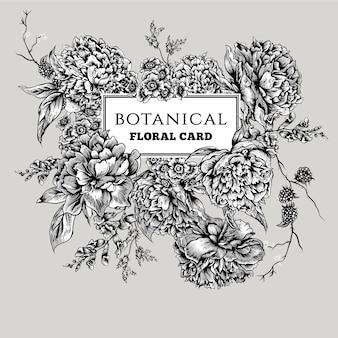 Cartão vintage preto e branco com peônias florescendo