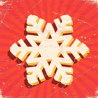 Cartão vintage riscado com floco de neve de natal 3d