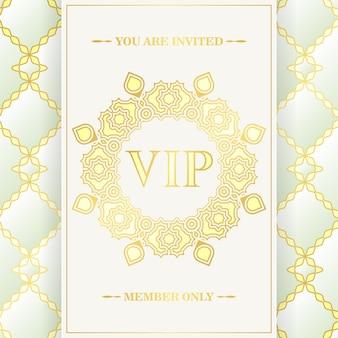 Cartão vip branco de luxo em textura de ornamento
