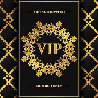 Cartão vip escuro de luxo em textura de ornamento