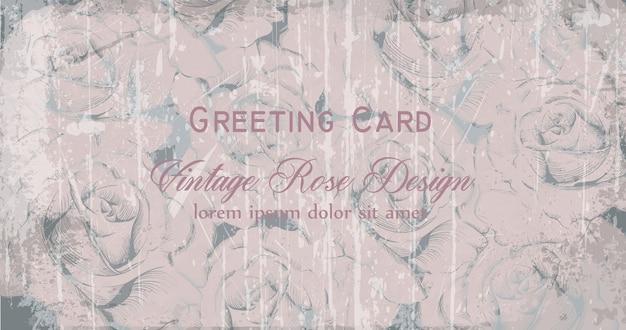 Cartão vitoriano vintage com rosas gravadas