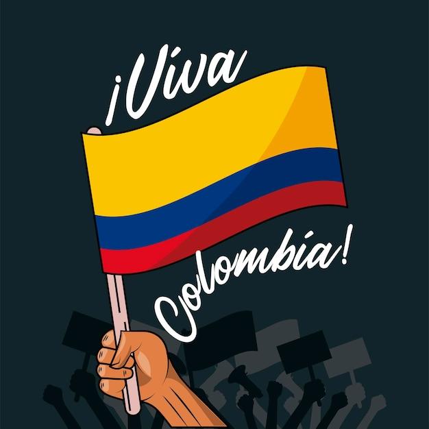 Cartão viva colômbia mão agitando bandeira no mastro