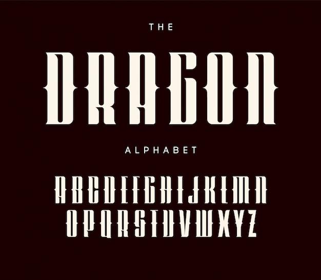 Cartas altas e ousadas com serifas e recortes. design tipográfico de estilo de tatuagem.
