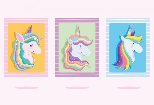 Cartas com unicórnios com cabelo arco-íris