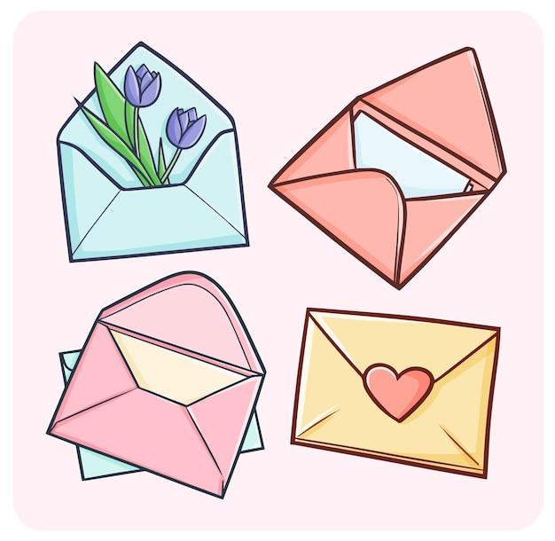 Cartas de amor engraçadas e fofas e envelopes em estilo simples de doodle
