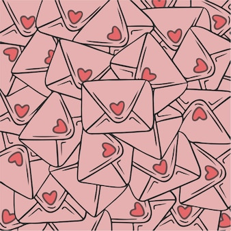 Cartas de amor padrão de fundo ilustração vetorial de dia dos namorados