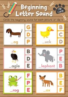 Cartas de animais de animais que combinam jogo de som de letra de começo