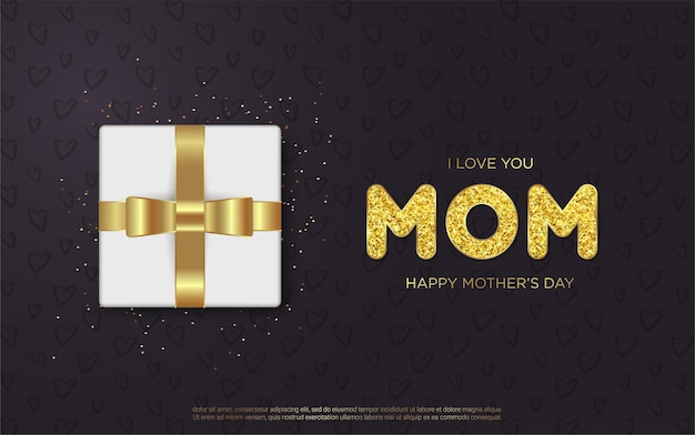 Cartas de feliz dia das mães com caixa de presente realista