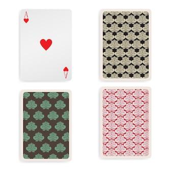 Cartas de jogar ace vintage, vista frontal e traseira