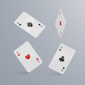 Cartas de jogar caindo sobre fundo claro. isométrico