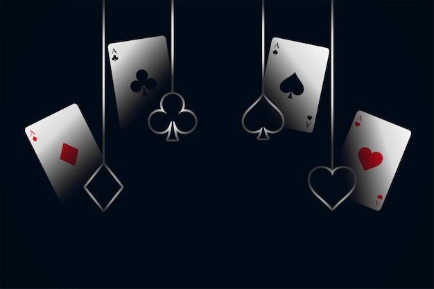 Cartas de jogar de cassino com fundo de símbolos