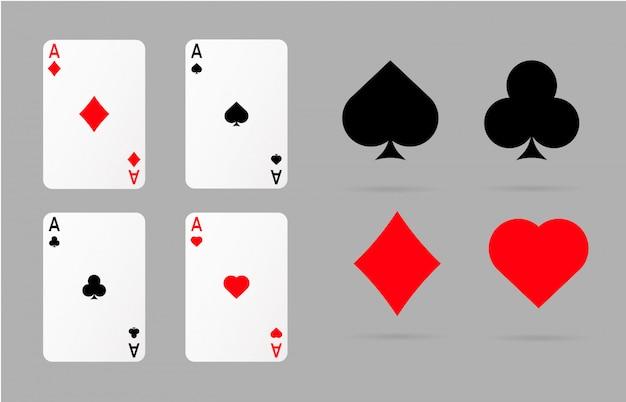 Cartas de jogar e símbolos de poker