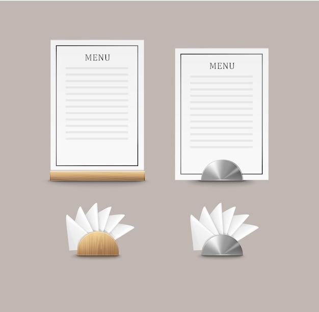 Cartas de menu de café de vetor e guardanapos com vista frontal de suportes de madeira e metal isolada no fundo