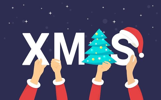 Cartas de natal para ilustração em vetor conceito celebração e saudações de natal de pessoas felizes comemorando o feriado. mãos humanas planas segurando letras de natal com árvore de natal e chapéu vermelho na violeta