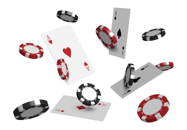 Cartas de pôquer de cassino 3d e fichas de jogo isoladas no fundo branco