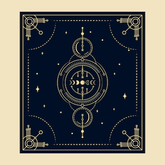 Cartas de tarô mágico celestial, leitor espiritual oculto esotérico, estrelas de bruxaria em toda a fase da lua