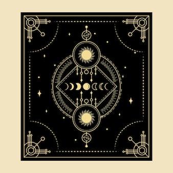 Cartas de tarô mágico celestial, leitor espiritual oculto esotérico, feitiçaria durante toda a fase da lua e sol