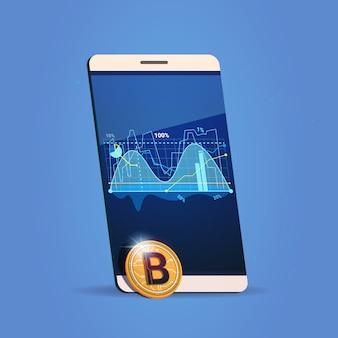 Cartas do telefone da pilha e conceito cripto da moeda do dinheiro de digitas do ícone de bitcoin do gráfico