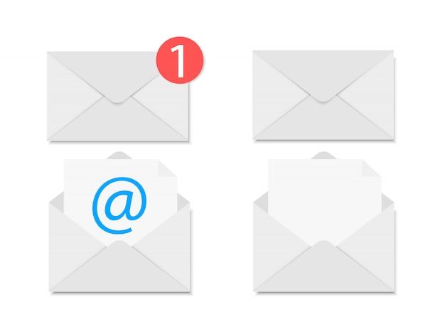 Cartas. envelope aberto e envelope fechado.