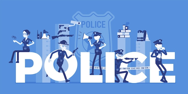 Cartas gigantes da polícia com policiais do sexo masculino e feminino