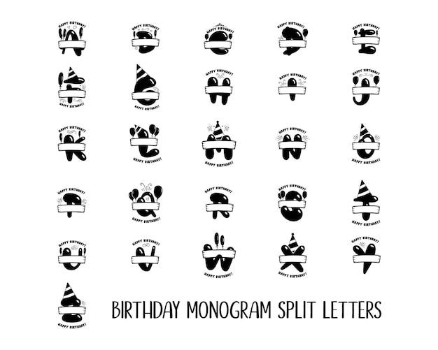 Cartas iniciais de aniversário. de a a z. desenhos de monograma de feliz aniversário com balões. modelos de alfabeto. vetor de estoque.